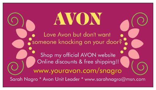 Free business cards for your avon business avonsalesleader advertisements reheart Choice Image